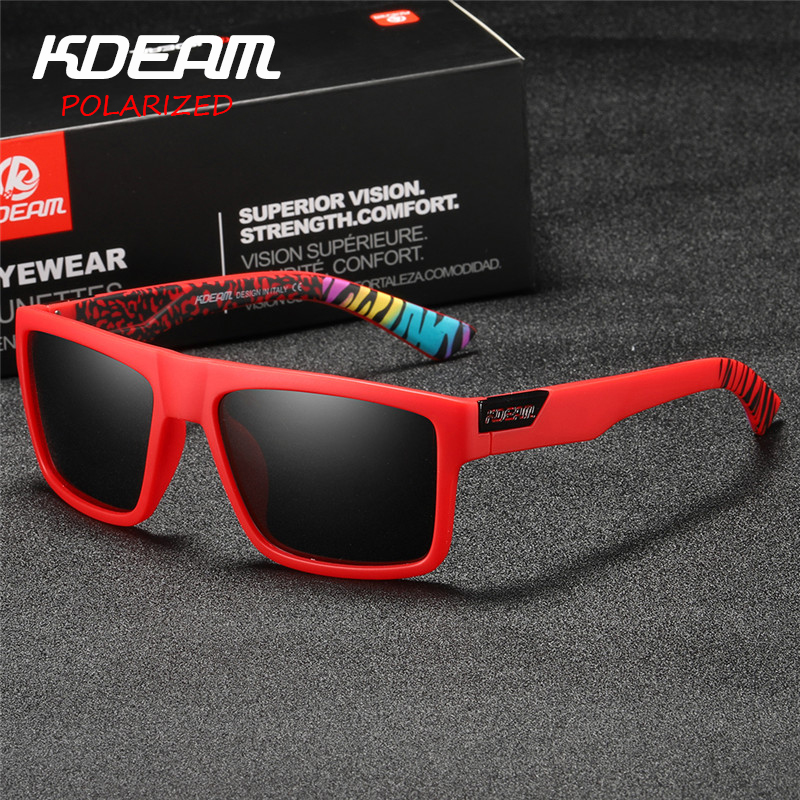 2d32e14dda6ff 2019 New KDEAM Sports Sunglasses Men HD Polarized Sun Glasses Red Square  Frame Reflective Coating Mirror