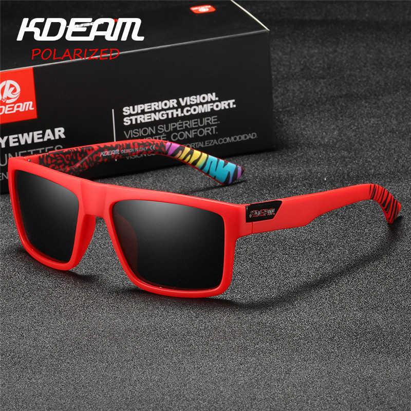 d317f2834b 2018 New KDEAM Sports Sunglasses Men HD Polarized Sun Glasses Red Square  Frame Reflective Coating Mirror
