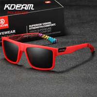 2019 nuevas gafas de sol deportivas KDEAM para hombre HD polarizadas gafas de sol montura cuadrada roja reflectante lente de espejo de recubrimiento UV400 KD05X-C5