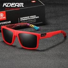 2019 New KDEAM Sports Sunglasses Men HD Polarized Sun Glasses Red Square Frame Reflective Coating Mirror lens UV400 KD05X-C5