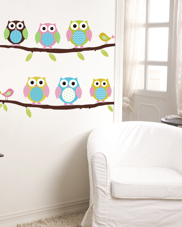 Online Shop Cartoon Cute Bird Owl Standing ON Tree Wall Sticker Decal Wall  Stickers For Kindergarten Nursery Children Kids Room Decoration |  Aliexpress ... Part 62