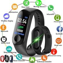 Купить с кэшбэком 2019 New Men Smart Band Fitness Tracker Heart Rate Blood Pressure Sport Bracelet Smart Watch LED color touch screen+Box