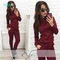 TAOVK diseño 2016 nueva moda Rusia estilo Mujeres Vino rojo y de color Albaricoque, $ number piezas Camiseta + Pantalón Largo Ocio ropa