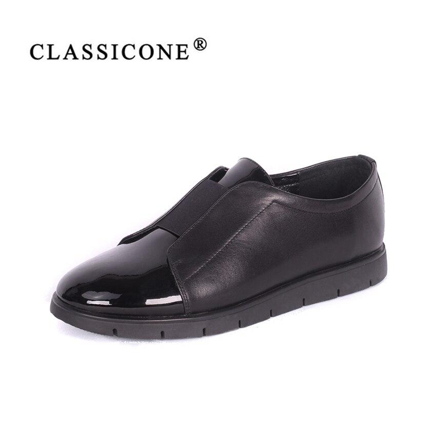 Femmes chaussures femme scoop printemps automne appartements avec cuir véritable marque de mode main designers style rouge noir CLASSICONE