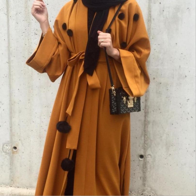 Muslim Abaya Appliques Dress Cardigan Long Robe Gowns Kimono Jubah Middle East Ramadan Thobe Worship Service Islamic Clothing