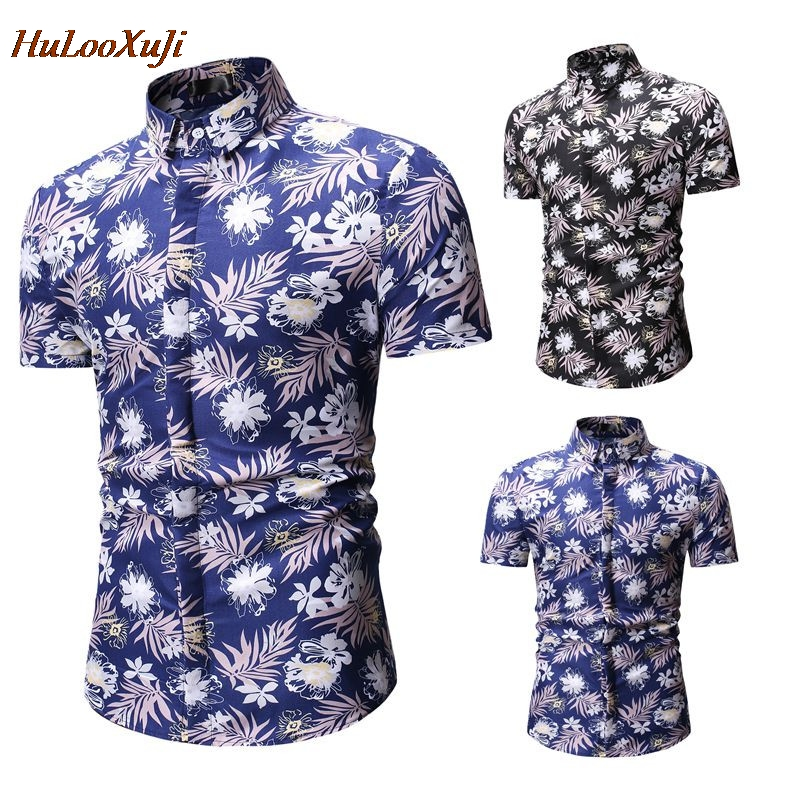 HuLooXuJi Men Summer Shirts Short Sleeve Tropic Beach Floral Printed Hawaiian Shirts Casual Holiday Blouses US Size:M-3XL