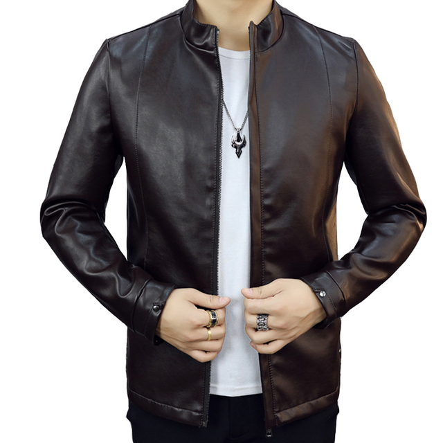 New Arrival Fashion Style Good Quality Men Casual Wear Suede Zipper Fly Stand Collar Full Sleev Three Colors pu Leather Cozy
