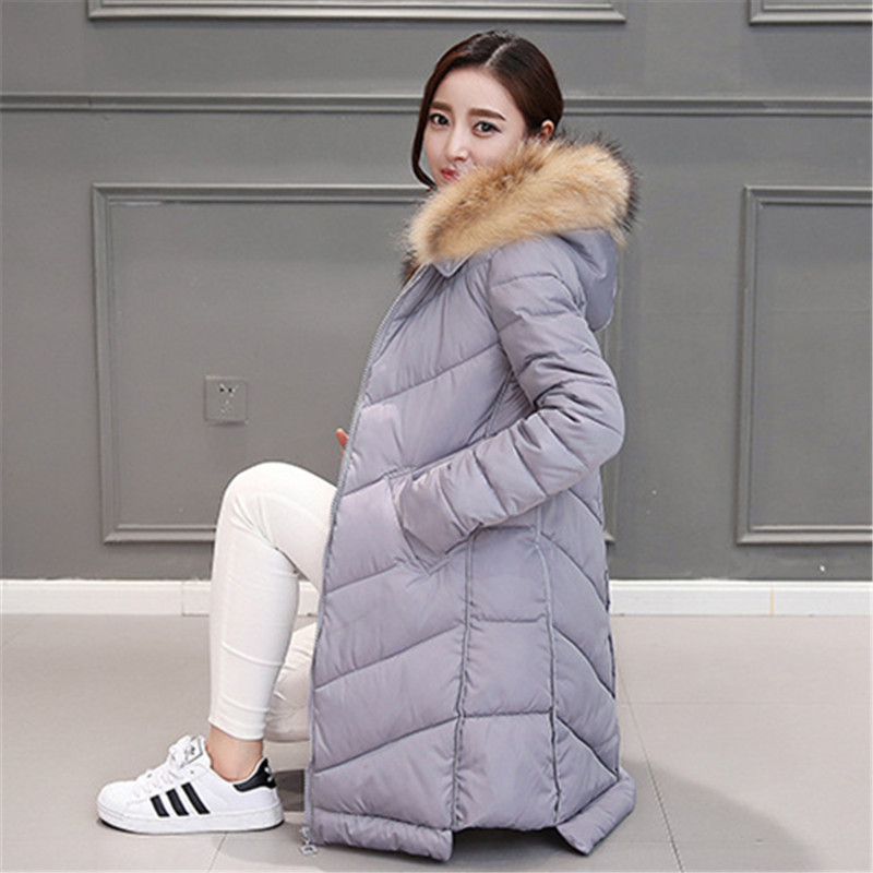 Women Winter Jacket Coat 2016 New Big Raccoon Fur Collar Warm Thick Cotton Full Sleeve Pockets Pashion Casual Slim Hooded Coats
