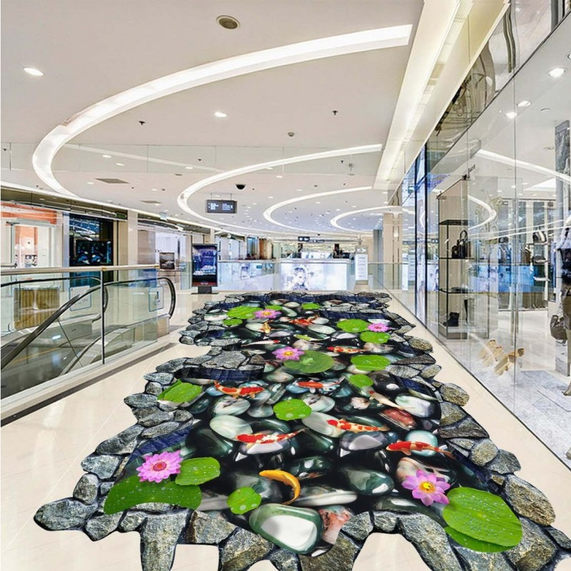 Free Shipping Hawthorn Carp lotus stone 3D outdoor floor painting thickened lobby bedroom living room bathroom flooring mural free shipping waterfall hawthorn carp 3d outdoor flooring non slip shopping mall living room bathroom lobby flooring mural
