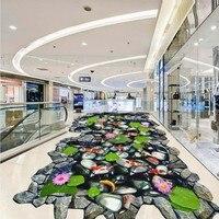 Free Shipping Hawthorn Carp lotus stone 3D outdoor floor painting thickened lobby bedroom living room bathroom flooring mural