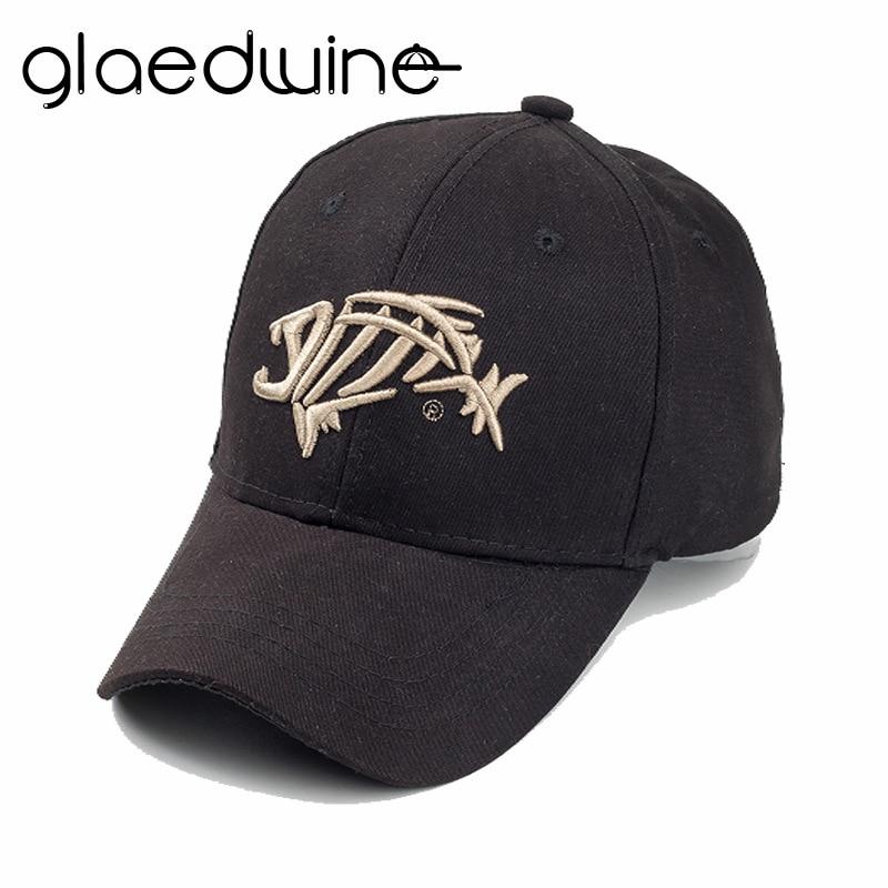 Glaedwine Fishing Baseball Cap Sunshade Sun Fish Bones Embroidered Cap Fishing Hook snapback Dad Hats For Men women hip hop caps jordans shoes all black