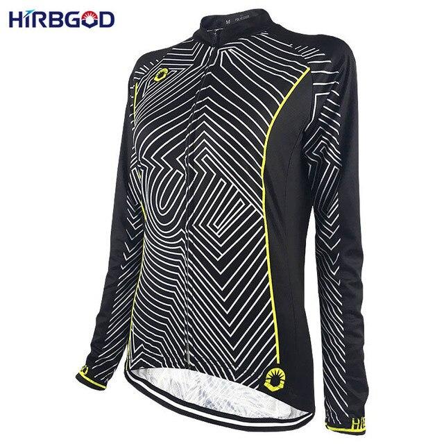 c7f36246e HIRBGOD Women s Line Print Lightweight Cycling Jersey Long Sleeve Lady  Sport Riding Bicycle Bike Cycling Shirt Clothing