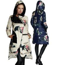 2017 Impressão da Marca das Mulheres Jaqueta de Inverno Parka pato branco Para Baixo Casacos Com Capuz Para O Sexo Feminino Casacos Outerwear Quente h670
