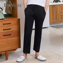 ElsMorr Mens Casual Cotton Bottoms 2019 New Loose Men's Home Pajama Trousers Drawstring Sleep Bottoms Male Lounge Sport Pants