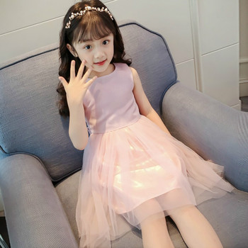 Baby Girl Dress Princess Dress Party Gown Formal Back Bow Yarn Sleeveless Dress Vestidos Kids Clothes Size 4-14 girl