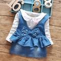 Novo 2016 primavera polka dot camisas de manga longa t + denim vestido de alça 2 pcs bebés meninas conjuntos de vestido de terno 0 ~ 2age bebê roupas de menina definido
