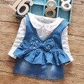 Nuevo 2016 polka dot primavera de manga larga camisetas + denim correa del vestido 2 unids bebés niñas juegos de vestir traje de 0 ~ 2age baby girl clothes set