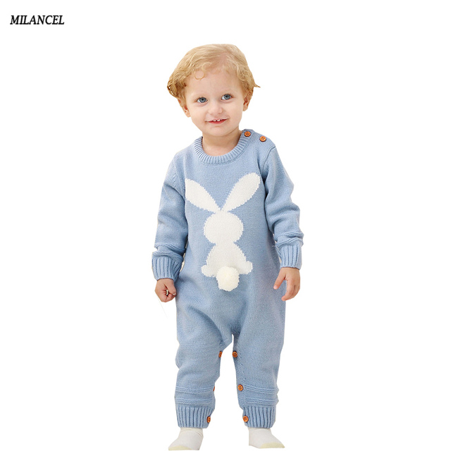 ded8599f6 MilANCEl 2018 New Baby Rompers Knitted Rabbit Style Boys Rompers Cute Baby  Girls Jumpsuits Casual Baby Girls Clothing