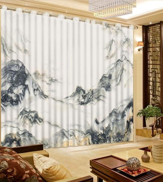 US $200.0 |Tende camera da letto 3d modelli tenda tende su misura tende  pittura di paesaggio casa decorazione in bianco e Nero in Tende camera da  ...