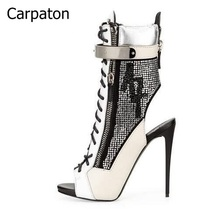 Fashion Autumn Spring Sexy Women Shoes Casual Rivets Studded Peep Toe Buckle Strap Sandal Boots Women Thin High Heels Free Ship