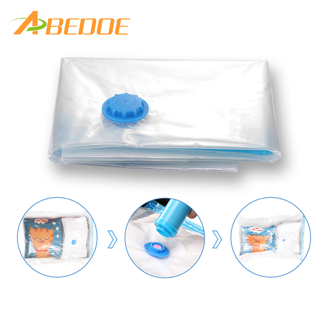 Abedoe 10pcs Reusable Vacuum Bag Storage Foldable Extra Large Compressed Organizer Saving E Seal Bags