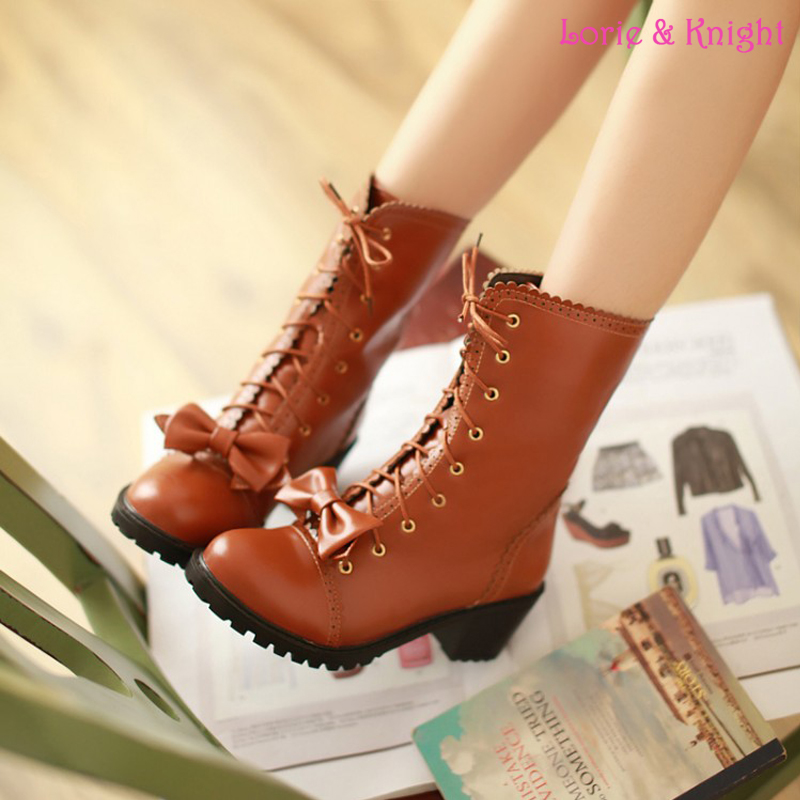 Vintage PU Leather Lolita Cosplay Mori Girl Lace Up Boots with Detachable Bow for Women рюкзак girl pu yt00172334