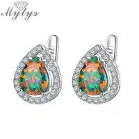 Mytys Water Drop Màu Xanh Lá Cây và Maple Đỏ Đầy Màu Sắc Opal Earrings đối với Phụ Nữ Đồ Trang Sức Lãng Mạn CE309