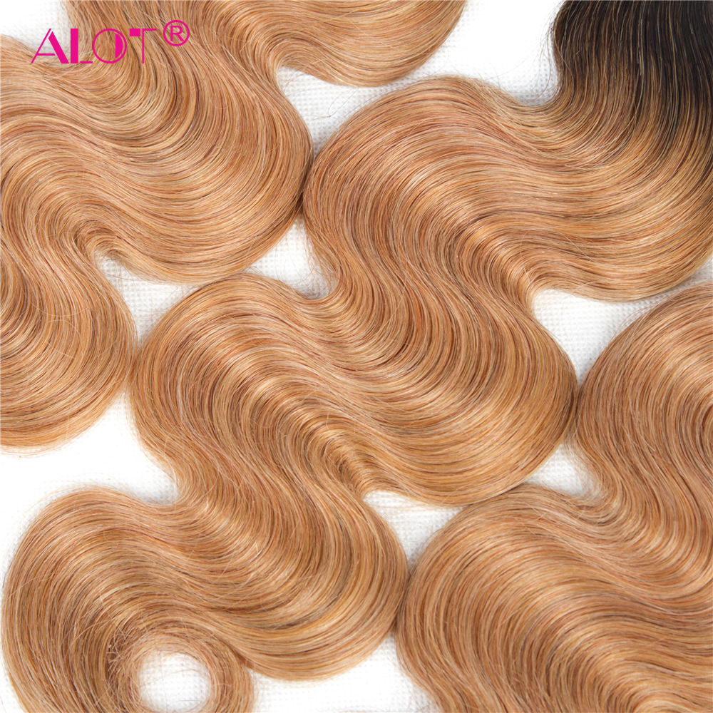 ALot Peruvian 1B/27 Dark Root Ombre Body Wave Human Hair Bundles With Frontal Non Remy Pre Colored Honey Hair Weave 4 PCS-in 3/4 Bundles with Closure from Hair Extensions & Wigs    3