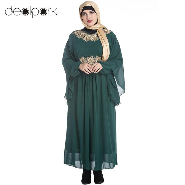 4b248d56a9 Women Muslim Maxi Dress Embroidery Long Sleeve Abaya Kaftan Islamic Arab  Robe Chiffon Dress Plus Size Dress vestidos Black Green