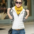 Women Autumn nter Vest Waistcoat Sleeveless Jacket Hooded Down Cotton Warm Vest Female V2
