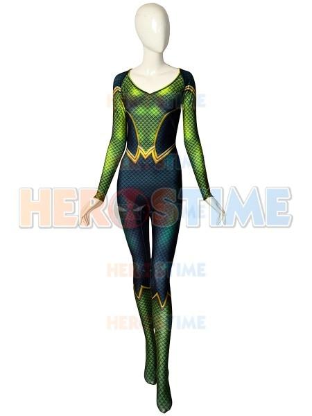 Mera Comics Version DyeSub Cosplay Costume 3D printed Superhero Suit Halloween Zentai Bodysuit For Adult/ Kids/Custom Made