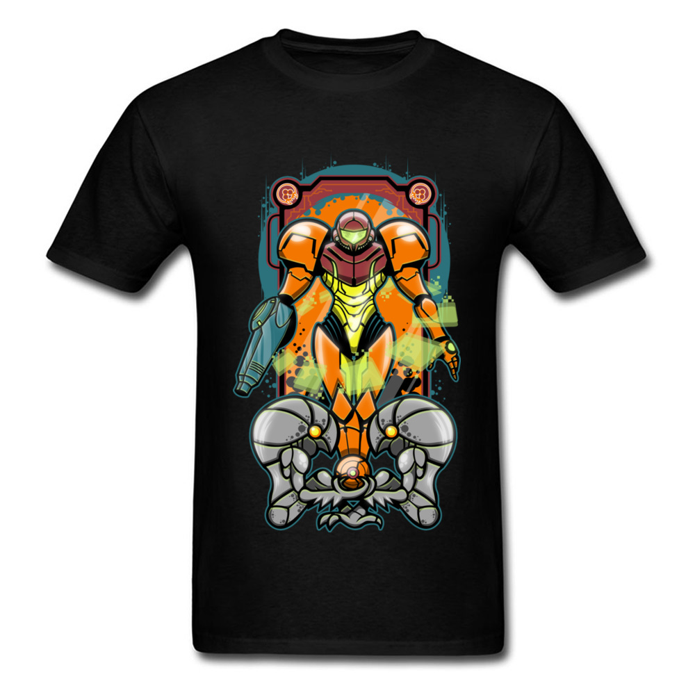 Cool Drawing Robot Warrior Cartoon Men Black T-shirt O-neck Short Sleeve Quality Cotton Tops & Tees Custom For Teenagers