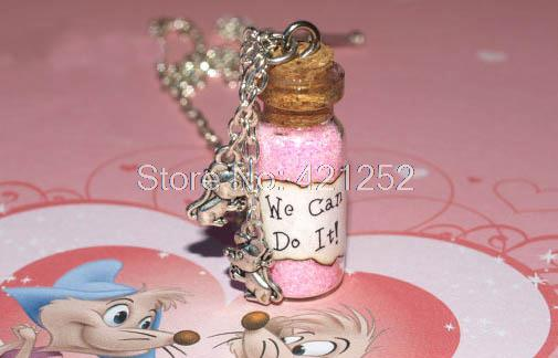 12pcs We Can Do It Magical Necklace with Mice Charms, Cinderella Work Song, Cinderelly inspired ncklace image