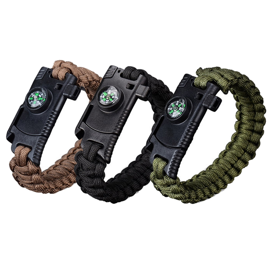 High Quality 4 In 1 EDC Survival Bracelet Outdoor Emergency 7 Core Paracord Whistle Kit for Hiking Mountain Climbing