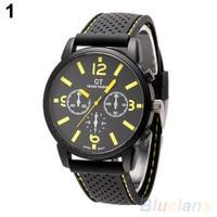 мужская мода аналоговые кварцевые силиконовой лентой из нержавеющей стали спортивные наручные часы 21s2