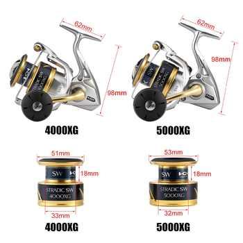 2018 New Shimano Stradic SW 4000XG 4000HG 5000XG 5000PG Spinning Reel 6.2:1 Saltwater 6+1BB 11kg Drag X-SHIP HAGANE Fishing Reel