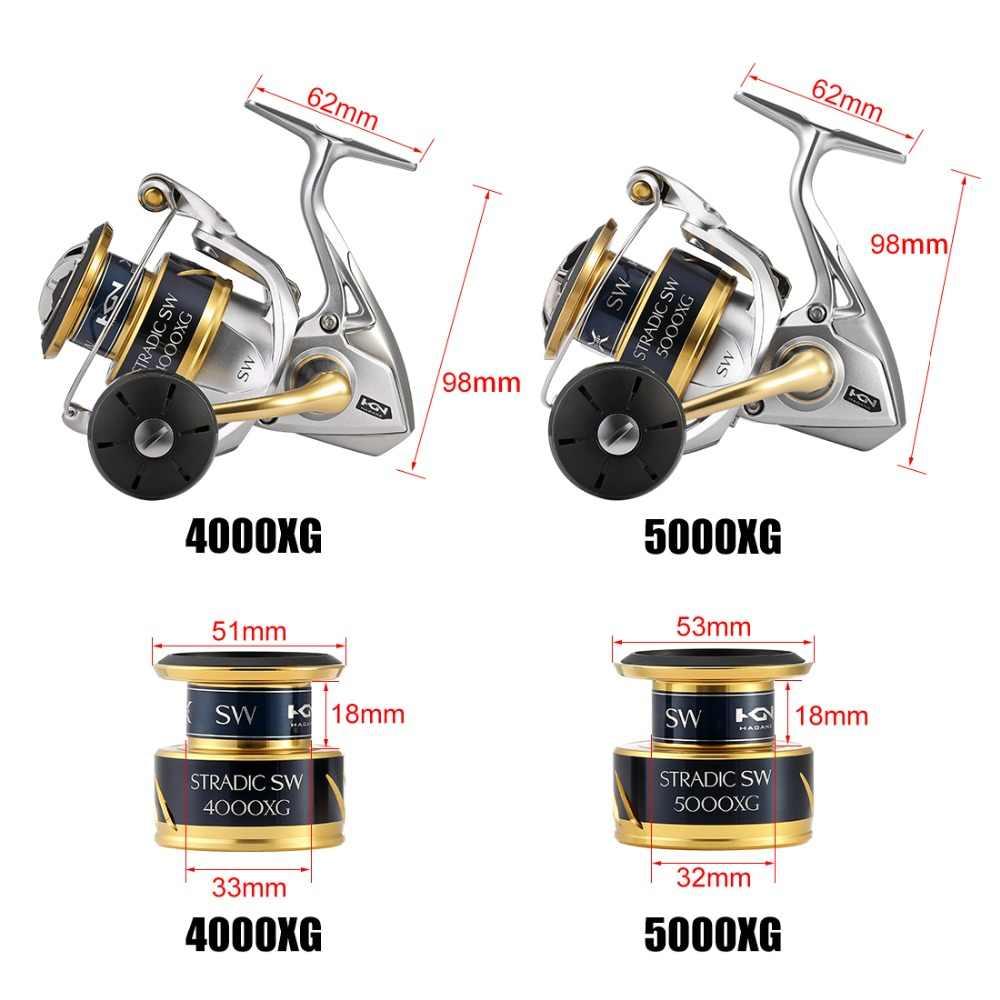 2018 nouveau moulinet de pêche Shimano stradique SW 4000XG 4000HG 5000XG 5000PG 6.2: 1 eau salée 6 + 1BB 11kg X-SHIP de pêche HAGANE