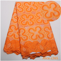 Alice C365 Factory Offer Latest African Cotton Lace Fabric With Stones High Quality African Swiss