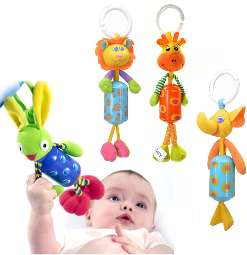 Baby Doll Soft Bed Infant Rattles Plush Animal Stroller Music Hanging Bell Toys