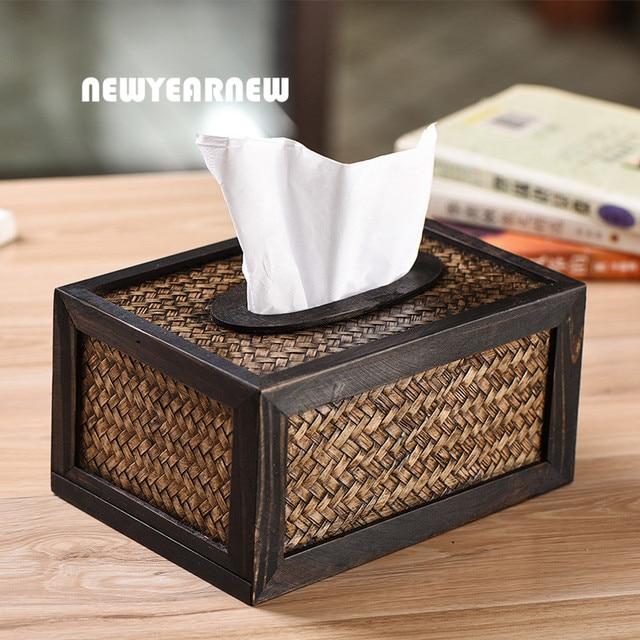 Geliefde NEWYEARNEW Retro Tissue Box Case Zuidoost azi Ë Tissue Doos Hout &GV37
