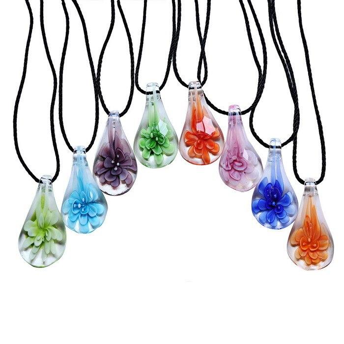 Lampwork Murano Glass Star Heart Flower Inside Pendant Necklace Women Jewelry