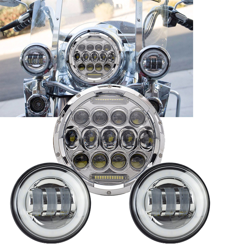 TNOOG DOT Approved for Harley Motocycle Daymaker 7 Inch Round Hi/Lo Beam & DRL LED Headlight + 2pcs 4.5 Inch Halo Fog Lights