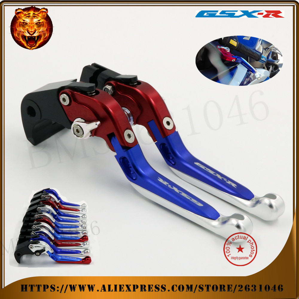 For SUZUKI GSX-R GSXR 600/750 GSXR600 GSXR750 2004-2005 Motorcycle Adjustable Folding Extendable Brake Clutch Lever red blue outdoor fashion pattern cs survival torist tactical vg10 damascus steel mini folding neck knives small damascus pocket knife