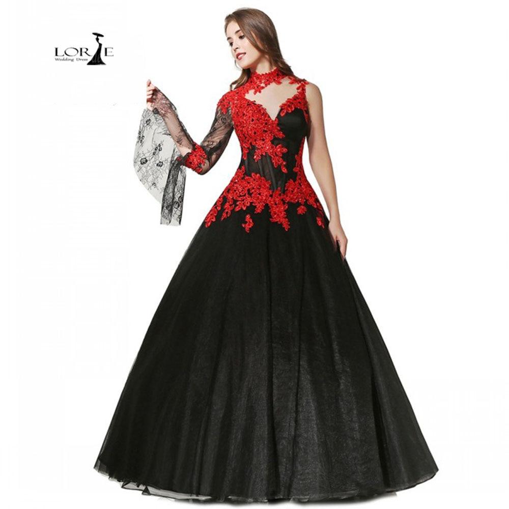 Black Wedding Gowns For Sale: Vintage Wedding Dresses One Shoulder 2019 LORIE Red Lace