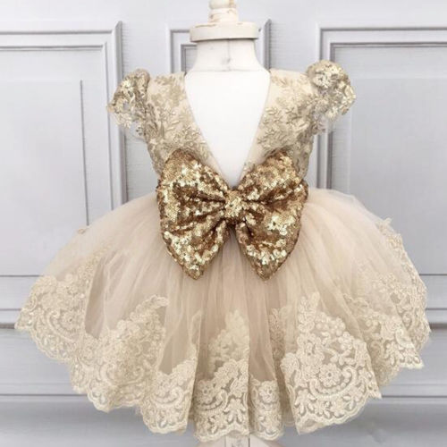 Flower Girl Princess Sequins Dress Toddler Baby Wedding Fancy Party Dresses