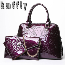 KMFFLY Brand 3 Pcs Set Composite Bags Women Leather Handbags Famous Ladies Shoulder Bags Embossing Chinese