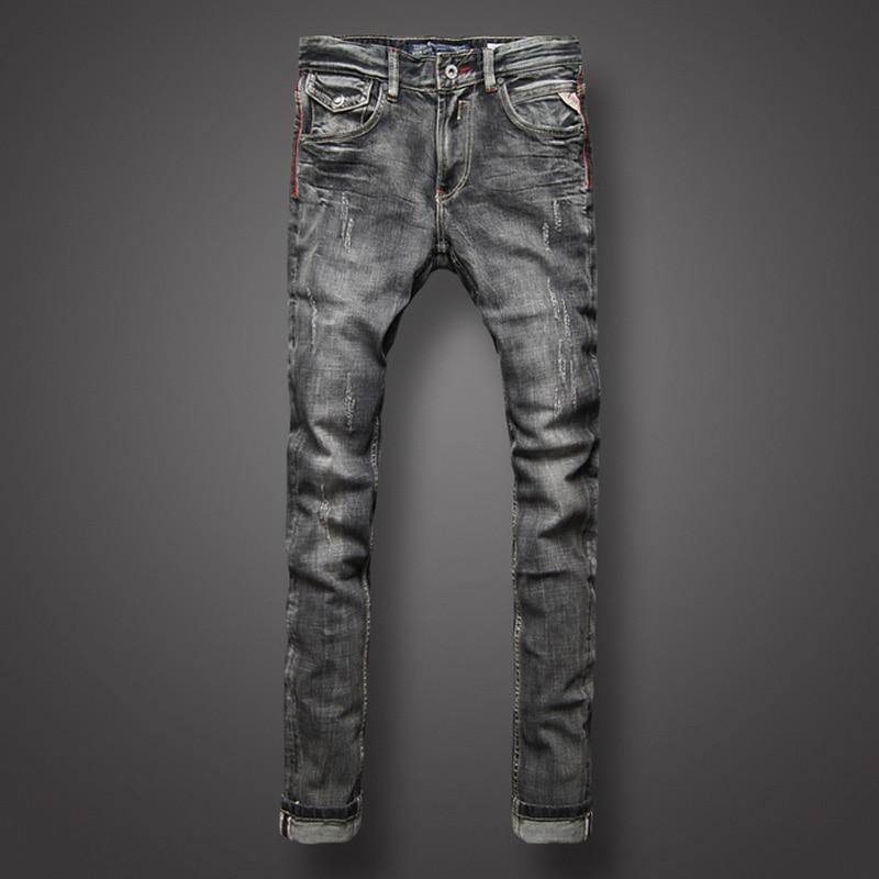 Classic Black Gray Denim Men Jeans Retro Designer Slim Fit Jeans Men Fashion Street Ripped Jeans High Quality Biker Jeans Homme