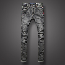 Classic Black Gray Color Denim Men Jeans European Retro Design Youth Slim Fit Jeans Men Fashion Street High Quality Biker Jeans цена в Москве и Питере
