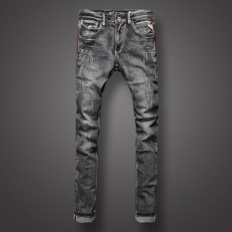 Classic Zwart Grijs Denim Mannen Jeans Retro Designer Slim Fit Jeans Mannen Mode Straat Gescheurde Jeans Hoge Kwaliteit Biker Jeans homme-in Spijkerbroek van Mannenkleding op AliExpress - 11.11_Dubbel 11Vrijgezellendag 1