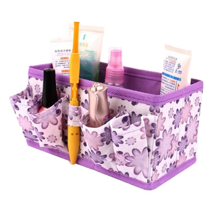 2018 New Arrival make up Makeup Cosmetic Little Gadget Storage Box Bag Bright Organiser Foldable Stationary Container